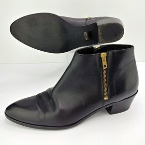 J. Crew | Remi Double Zip Leather Ankle Boots